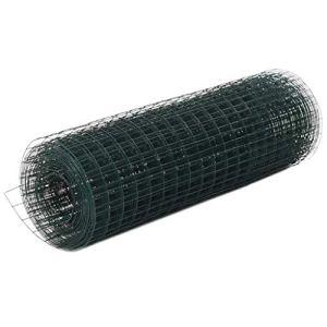 vidaXL Grillage Métal Acier Revêtement en PVC 25×0,5 m Carré Clôture Jardin