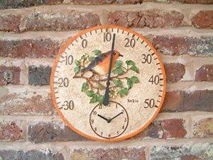 Home and Garden Products Mur extérieur Thermomètre avec Horloge Peinte à la Main Motif Rouge-Gorge 30cm
