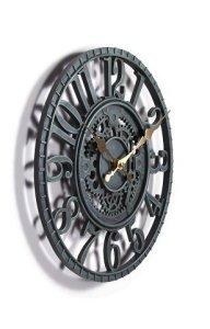 Horloge de jardin extérieur, bleu, gris ardoise, 30,5cm 30cm. Système de conception mécanique de roue