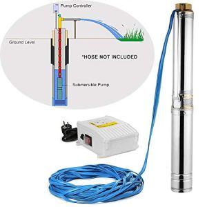 Iglobalbuy Pompe Immergee Pour Puit Profond 4000L/HMax. Pompe de Puits Profond Immergée Electrique Jardin 220V/50Hz 750w
