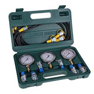 Kit de test de pression hydraulique, Kit de couplage de test de pression hydraulique pour pelle pour machines de construction de pelles avec manomètre, tuyau d'essai, connecteur