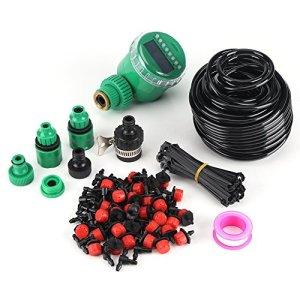 Kits d'irrigation Micro Drip Minuteur d'Arrosage Automatique DIY ,Kits de Système d'Irrigation Tuyau d'Arrosage Extérieur Adaptateur de Connecteur de Robinet Irrigation Arrosage Brumisation Jardin