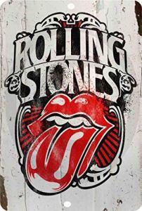 qidushop Rolling Stones Rock Classique Vintage Look Reproduction Métal Plaque Murale Art Décor pour Femme Homme 20 x 30 cm
