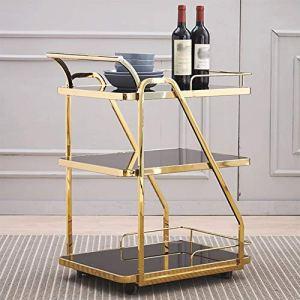 Quatre Roues outil de stockage portable Panier Chariot à étagères, support en métal élégant grande capacité salon salle à manger cuisine hôtel dessert étagère à vin, 2 couleurs, 63X45X84CM utilitaire