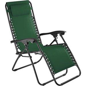 tectake 800583 Chaise Longue Toile Tendue, Pliable, avec Rembourrage de Tête Amovible, Charge Max: 110 kg – diverses Couleurs – (Vert | n° 402929)
