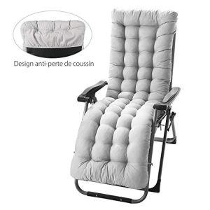 willkey Coussin Bain de Soleil Anti-dérapant pour Lounge Fauteuil Chaise Transat de Jardin Fauteuil Relax épais Outdoor Assise 170 * 53 * 7 CM (Gris)
