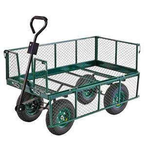 YAOBAO Chariots de Jardin en Acier À Côtés Amovibles, Muet, Capacité de 150 Kg, 89X50x22cm