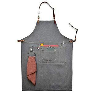 Tablier en denim gris unisexe avec lanière en cuir, Chef de cuisine BBQ, avec pochettes. , Taille L