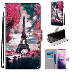 Miagon PU Cuir Coque pour OnePlus 7,Coloré Motif Portefeuille Étui Housse Cover avec Stand Support Porte-Cartes de Crédit,Tour Fleur