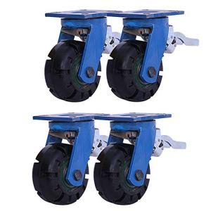 Roulettes Bleu De Frein, en Caoutchouc À Plat avec Poussoir Industriel Rotatif À 360 °, 4 Tailles