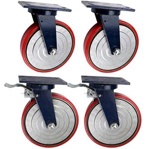 Roulettes pivotantes en polyuréthane à Noyau de Fer de 10 Pouces, silencieuses avec Freins, Roues d'équipement Lourd Industriel, Charge 1,3 Tonne