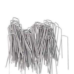 OuYi Garden Pegs U Paquet de 50 – Paquet de 50 x 3.0mm x 6 «/ 150mm – Ancrages pour Paysage Paysagers Galvanisés Agrafes, Broches en U en acier pour gazon