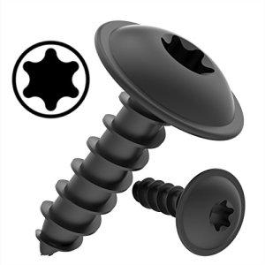 100 AUPROTEC Vis à Tôle TORX 4,8 x 38 mm tête bombée plate avec rondelle galvanisé noir DIN 7049 – 4,8 x 38 mm, lot de 100
