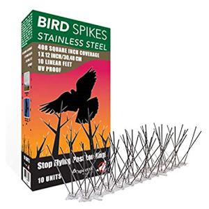 ASPECTEK Anti-Oiseaux en Acier Inoxydable 10 Pieds (3 Mètres) Dispositif Dissuasif Parfait pour Les Oiseaux (sans Colle)