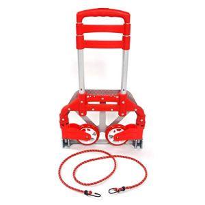 Chariot de courses pliable, 75 kg en aluminium, robuste et pliable, Chariot à bagages avec élastiques avec cordons élastiques pour bagages, déménagement et utilisation au bureau Rouge