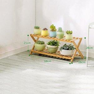 CKH Étagère Pliante Multicouche pour Salon intérieur et Balcon, Bambou, b, 3 Layer