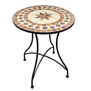 Dszapaci Table de Jardin en mosaïque Table de Balcon Table de mosaïque Ronde de 60 cm Table d'appoint méditerranéenne Table de Jardin Ronde en mosaïque
