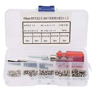 Ensemble de kit d'insertion de réparation de fil, manchon de vis en fil d'acier inoxydable Ensemble d'outils de kit d'insertion de réparation de fil (105 pièces/ensemble)(M3*0.5)