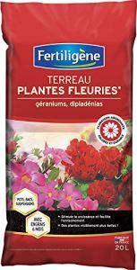 FERTILIGENE TERREAU Plantes Fleuries ET Geraniums 20 litres avec Engrais 6 Mois FG20M
