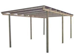 Gardenas Carport en Bois et Panneaux ondulés 3×5 m Budget