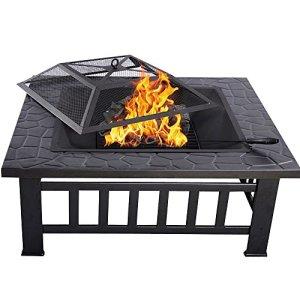 HENGMEI 81cm Brasero pour Jardin Terrasses BBQ Brasero Ménager Barbecue Fête et Foyer en Acier Noir Poêle Chauffant