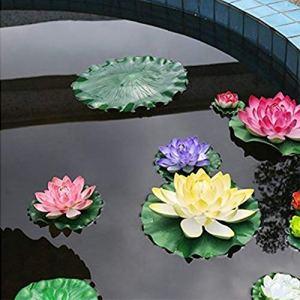 Homeofying 2 Pcs Feuilles De Lotus Flottantes Artificielles Faux Plante Verte Jardin Étang Piscine Décor Étang Décor Aquarium Décor 10cm
