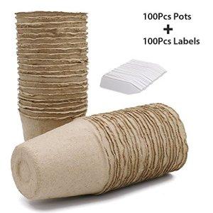 KINGLAKE 100Petits Pots de semis en Fibre biodégradable de 8cm, avec 100étiquettes Blanches en Plastique de 1x 5cm