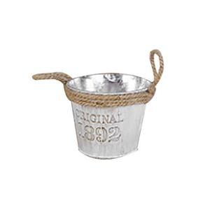 LINSINCH Cache Pot Salon de Jardin Jardinage Décoration Pot De Fleur en MéTal Fer Tonneau Suspendu Balcon Plante Planteur DéCor Pot pour La Végétale Intérieure(Argent As Shown)