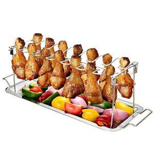 Magiin Support Cuisse de Poulet Barbecue Pliable à 14 Cuisses avec Plateau en Acier Inoxydable, Support de Cuisson pour Barbecue Pique-Nique