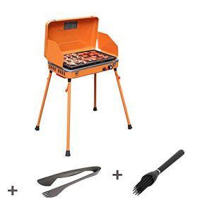 MMUY-1 Barbecue À Gaz Grill, Allumage Électronique Portable Crêpière Puissance De Feu Réglable avec Plat De Cuisson en Téflon pour Extérieur Jardin Camping