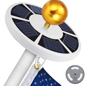 Porcyco Guirlande Lumineuse Solaire 111LED avec mât de Drapeau alimenté par l'énergie Solaire IP55, diamètre de mât approprié : 0,5 Pouces