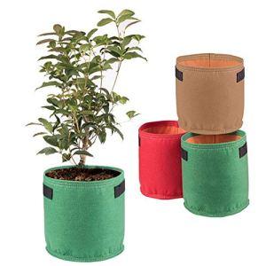 Sac de croissance de plantes haut de gamme, pots d'aération en tissu non tissé Thichkened de 5/10 gallons avec poignées -Capacité de poids renforcée et extrêmement durable pour les légumes Planteur de