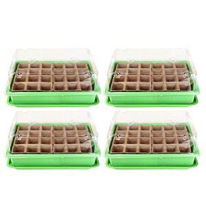 Schramm® Lot de 4 serres de Culture en Cellulose 27 x 19 x 11 cm avec 96 Pots de Culture en Cellulose avec Bol à semis Mini Serre