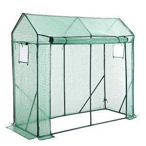 SONGMICS Serre de Jardin, avec Porte Enroulable et Fenêtre, pour Légumes, Tomates, Potager, Dimensions 200 x 77 x 169 cm, Vert GWP21GNV1
