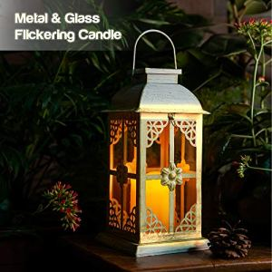 SteadyDoggie Lanterne LED à énergie solaire – Métal blanc élégant et verre trempé – Belle lanterne pour table ou à suspendre – Intérieur ou extérieur – Matériaux résistant aux intempéries