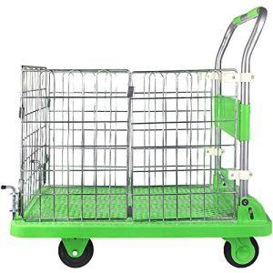 WILL Chariot à Main Pliant avec Garde-Corps, Camion de poussée Pliant Vert, Convient aux Bagages, aux Voyages, au déménagement et au Bureau, capacité de 660 LB