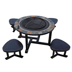 YONG FEI Barbecue Grill – Table et Chaise de Barbecue en Plein air Ménage Grill à Charbon de Bois Grill Jardin Jardin Aire de Jeux en Plein air Table de Loisirs et Chaise en Aluminium moulé Barbecues