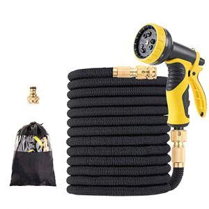 15-100 FT Tape Tuyau d'arrosage Goutte à Goutte Système d'irrigation Expandable Flexible d'arrosage Magique Tuyaux avec Robinet connecteur Car Wash Buse (Color : Black, Lengh : 50FT)