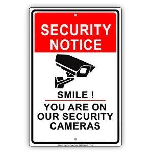 avis de sécurité Smile vous êtes sur Nos avis de mise en garde Caméras vidéo Survillance CCTV Aluminium Panneau en métal Signes vintage Tin plaques Signes décoratifs Pancarte 8x 12