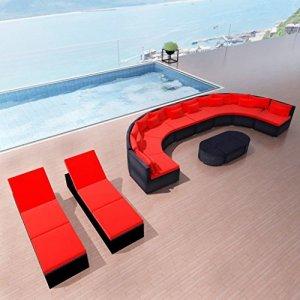 binzhoueushopping Mobilier de Jardin avec chaises Longues Rouge Dimensions d'un éléments Droit du canapé 70 x 80 x 66 cm (l x P x H) Résine tressée