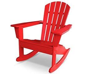 CASA BRUNO Adirondack South Beach II, fauteuil à bascule, polyéthylène PEHD, rouge – résistance inconditionnelle aux intempéries