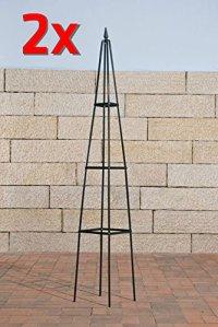 CLP Arche à Rosier Pyramide, Arceau à Rosiers en Fer Forgé, Support pour Plantes Grimpantes avec Un Design Romantique, en Pièce Unique ou en Set de 2, 190 x 27 x 27 cm: Vert, Ensemble de 2