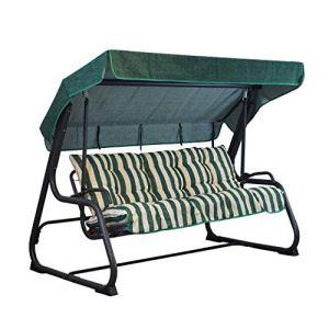 Coussins et toit de rechange pour balancelle 3places 135 cm, à rayures vertes