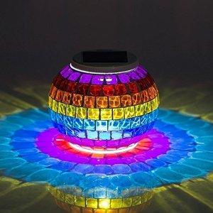 Lampe Solaire, EONSMN Mosaïque Lumière Solaire Extérieur Décorative Lanterne Lampe de Table Pour Jardin, Table, Patio, Fête, Noël
