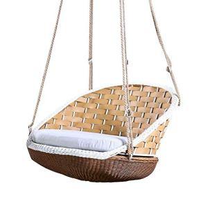 LQJYXD Tabouret de Chaussure Chaise Suspendue en rotin décontracté pour Adultes Panier Suspendu intérieur Swing Nest Balcon Paresseux Jardin en Plein air Cradle Chair
