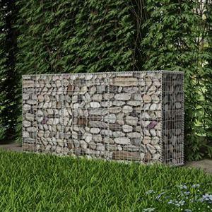 Panier de gabion en Acier galvanisé 200 x 50 x 100cm(L x I x H) Argenté