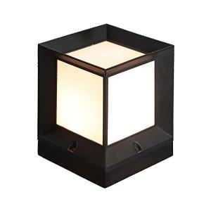 Petite Lampe Pilier Carrée Traditionnelle Aluminium Noir Finition Acrylique Abat-Jour E27 Poteau Extérieur Lanterne Lumière Décoration Étang Gate Porte Pilier Parc Lumières Extérieures