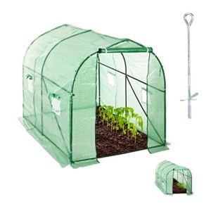 Relaxdays Serre 200x200x300 cm Tunnel bâche Housse Porte fenêtre Jardin Tente Plante Tomate, Vert
