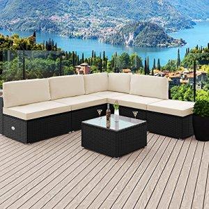 Salon de jardin polyrotin 16 pièces – noir coussins 7cm -ensemble meubles jardin
