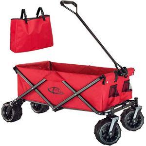 TecTake 800576 Chariot de Jardin Tout-Terrain, Max 80 kg, Pliable en Un Seul Geste – diverses Couleurs – (Rouge | n° 402913)